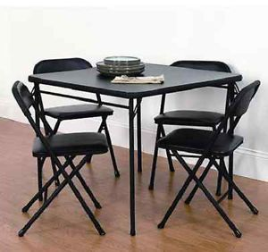 Tables 5 Piece Black Folding Card Table And Chairs Set Camping Patio Cards  Party