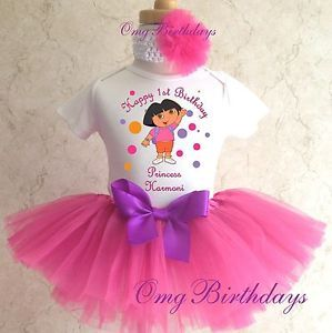 Dora Birthday Girl Pink Tutu Outfit Set Name Age Personalized 1st 2nd 3rd First