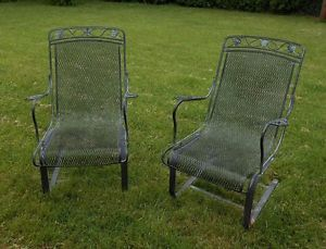 Fab Pair Vintage Woodard High Quality Wrought Iron Patio Porch Rocker Chairs