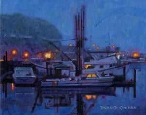 Original Curran Oil Painting Night Lights on The Boat Docks Listed Artist NR