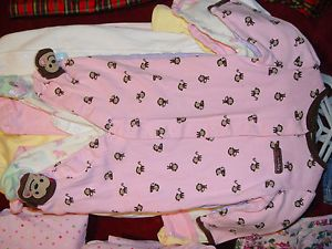 Huge Lot Baby Girl Clothes Newborn 0 3 6mos Up Crib Sheets Sleepers Extra Nice