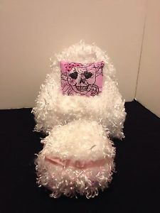 White Fluffy Chair with Ottoman for Monster High Barbie or Bratz Dolls