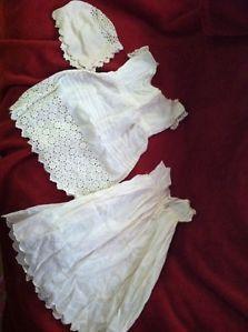 3 PC Lot 1800's Victorian Baby Doll Clothes Gown Dress Bonnet