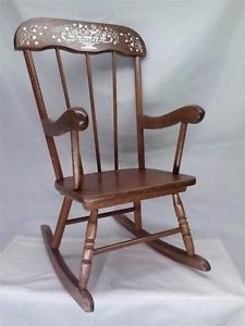 Vintage 1960's Sear's and Roebuck Children's Wooden Rocking Chair Doll Teddybear