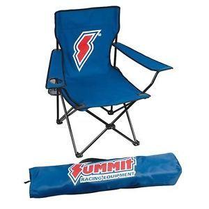 Summit Racing Logo Poly Canvas Folding Chair Blue w Storage Bag 250 lb Capacity