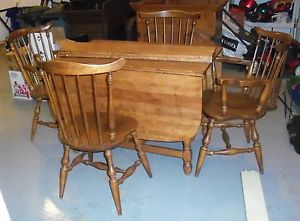 Maple Drop Leaf Dining Room Table 4 Chairs Dry Sink by Moosehead Good Condition