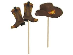 24 Cowboy Western Hats Boots Cupcake Toppers Birthday Party Supplies