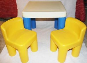 Little Tikes Table 2 Yellow Chairs Child Sized Infant Toddler Preschool Toy Lot