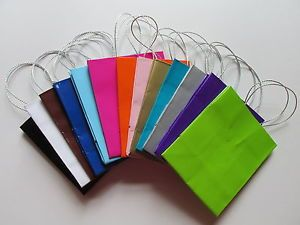 12 Mini Glossy Paper Gift Bags You Pick from 14 Colors Party Favors Free SHIP