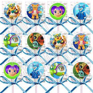Disney Jr Special Agent Oso Lollipops w Blue Bow Ribbons Party Favors 12 Pcs