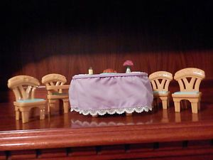 Fisher Price Loving Family Dollhouse Lighted Musical Holiday Table and Chairs