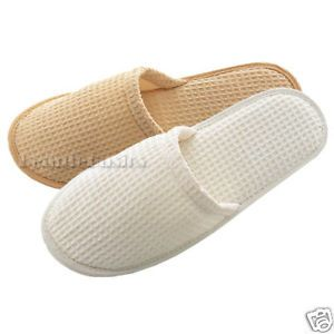 Cotton Waffle Spa Slippers Wedding Party Natural AS160N