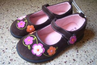 New Baby Girl's Koala Kids Brown Faux Suede Mary Janes Shoes Velcro Size 2 Cute