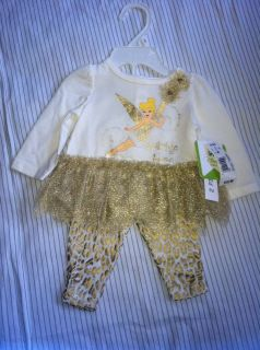 NWT Disney Baby Tinkerbell 2 PC Set Gold Tutu and Gold Chetta Print Leggings 3M