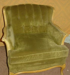 Vintage French Style Green Velveteen and Wood Living Room Chair