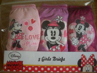 3pk Baby Girls Disney Minnie Mouse Briefs Knickers Underwear 18M 2 3 4 5 6 Years