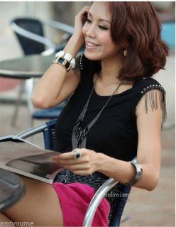 1pc Korea Multilayer Tassels Black Gemstone Ladies Necklace Coat Chain N99 Hot