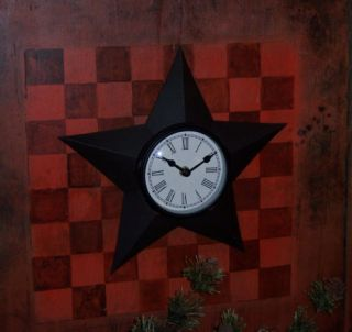 Primitive Antique Vtg Style Rustic Tin Barn Star Wall Clock Decoration Gift Idea