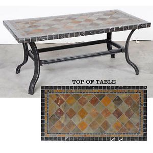 Aventura Patio Coffee Table Slate Top Aluminum Martelle