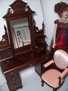 """Franklin Mint Titanic Rose Doll Furniture Vanity Chair Collector Set Fits 16"""""""