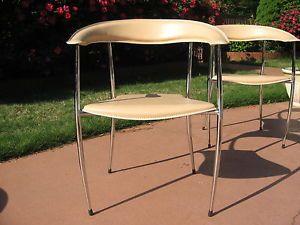 4 Arper Vintage Chrome Leather Mid Century Modern Stiletto Leg Armchair Chairs