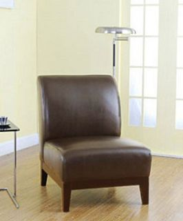 Cole Dark Brown Leather Chair Living Room Contemporary Modern Sophisticated