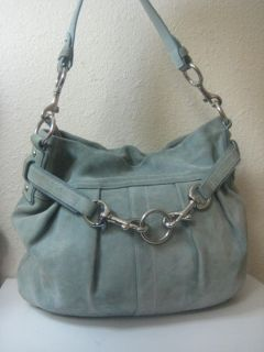 Coach Baby Blue Suede Leather Pleated Large Hobo Shoulder Bag 9284