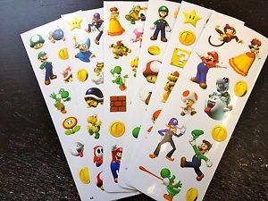 6 Sheets Super Mario Stickers Party Favors Teacher Supply
