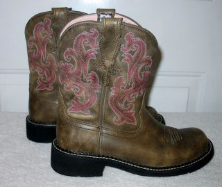 "Womens Slip on Classic Leather ""Fat Baby"" Cowboy Boots by Ariat Espresso Sz 9B"