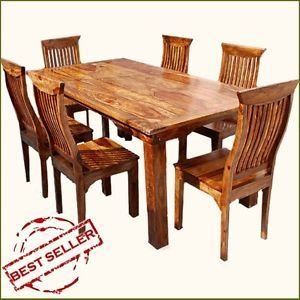 Rustic 7pc Formal Dining Room Table Chair Set for 6 People Solid Wood Furniture