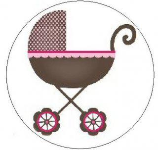 "Pink Brown Baby Stroller 1"" Sticker Seal Labels"