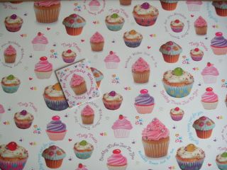 2 Sheets Cupcake Design Birthday Wishes Wrapping Paper 1 Gift Tag New