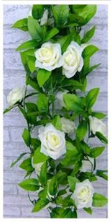 Artificial Rose Silk Flower Green Leaf Vine Garland Home Wall Party Decor Beige