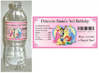 20 Disney Princess Birthday Party Favors Water Bottle Labels