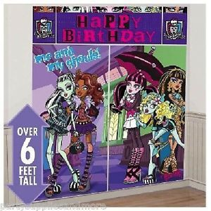 Monster High Wall Decoration Giant Poster Birthday Party Decorating Kit New