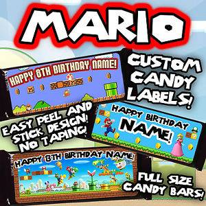 Super Mario Brothers Party Full Size Candy Bar Hershey Labels Supplies Favors