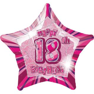 "Happy 18th Birthday Foil Helium Balloon Pink Glitz Star Shaped Decoration 20"" 18"