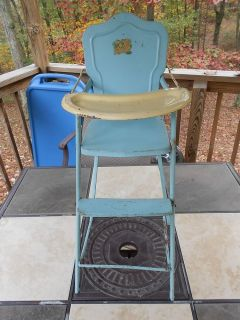 Vintage AMSCO Metal Baby Doll High Chair Blue White Complete Nice Condition