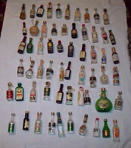 """Vintage Collection of Miniature Sample Whiskey Bottles ""Empty"" Sixty 60 """