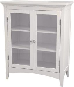 White 2 Door Storage Shelf Floor Cabinet for Bathroom Hallway Furniture