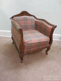 French Louis XV Style Carved Bergere Living Room Chair