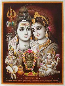 "Lord Shiva Family Parvati Ganesh Kartik Poster 9""x11"" 3059"
