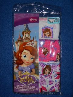 New 3 Pairs Girls Sz 4T Disney Princess Sophia Sofia The First Panties Underwear