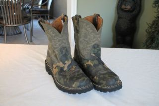 Womens Ariat 4LR Fat Baby Camo Boots Size 10B