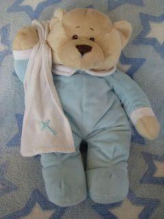Baby Ganz Bath Time Bear Blue White Cross Blanket Plush Stuffed Tan Towel Teddy