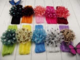 "Big Lot 20 Girl Baby Newborn Dot Fabric Daisy Flower Hair Clip Silk 2""Headband Y"