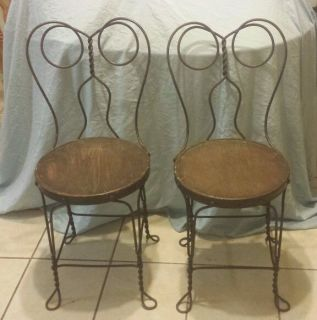 Vintage Pair Twisted Wire Ice Cream Parlor Chairs Soda Shop Chairs ...