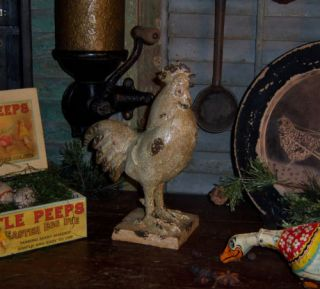 Primitive Vtg Style Rustic Crackle White Rooster Resin Home Decor