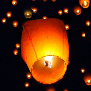 50 White Paper Chinese Lanterns Sky Fly Candle Lamp for Wish Party Wedding