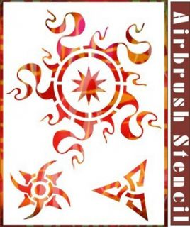 Flame Sun Airbrush Stencil Template Pattern Artwork Paint Party Wall 003076Y 9